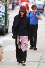 Zoe Kravitz Keeps a low profile during a stroll in SoHo