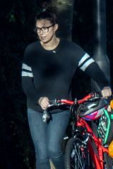 Kym Marsh Seen pushing a bicycle in Greater Manchester