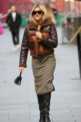 Ashley Roberts Looks chic wearing a patterned dress at Heart radio in London