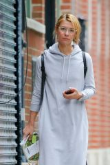 Claire Danes Is spotted in a grey hoodie dress in New York