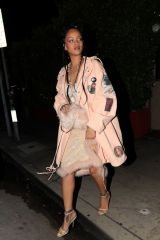 Rihanna Looks pretty in Pink while out for dinner at Giorgio Baldi restaurant in Santa Monica