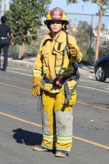 Jenna Dewan Dressed as a firefighter and Nathan Fillion on the set of 'The Rookie' Filming in Los Angeles