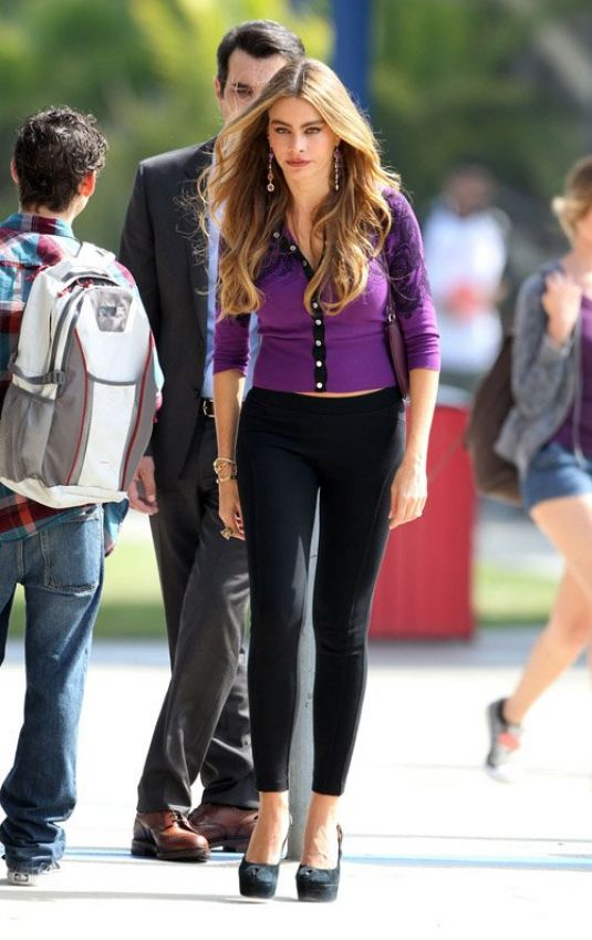 Sofia Vergara On The Set Of Modern Family In LA