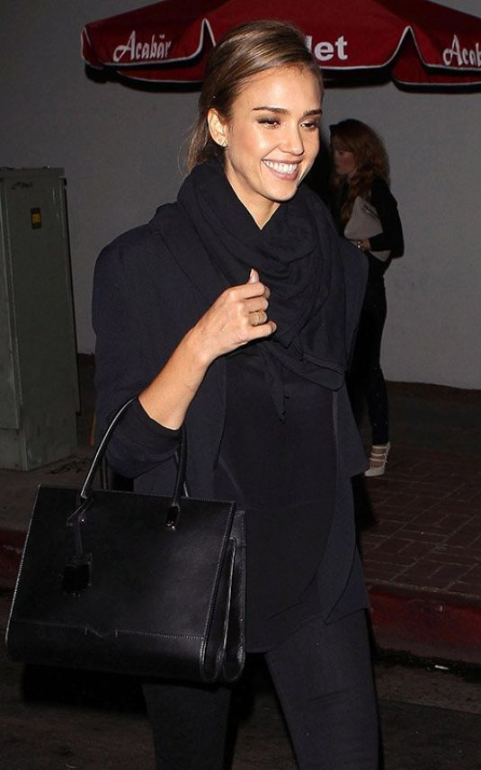 Jessica Alba At Abacar Restaurant In Hollywood