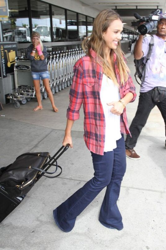 Jessica Alba At LAX In Los Angeles