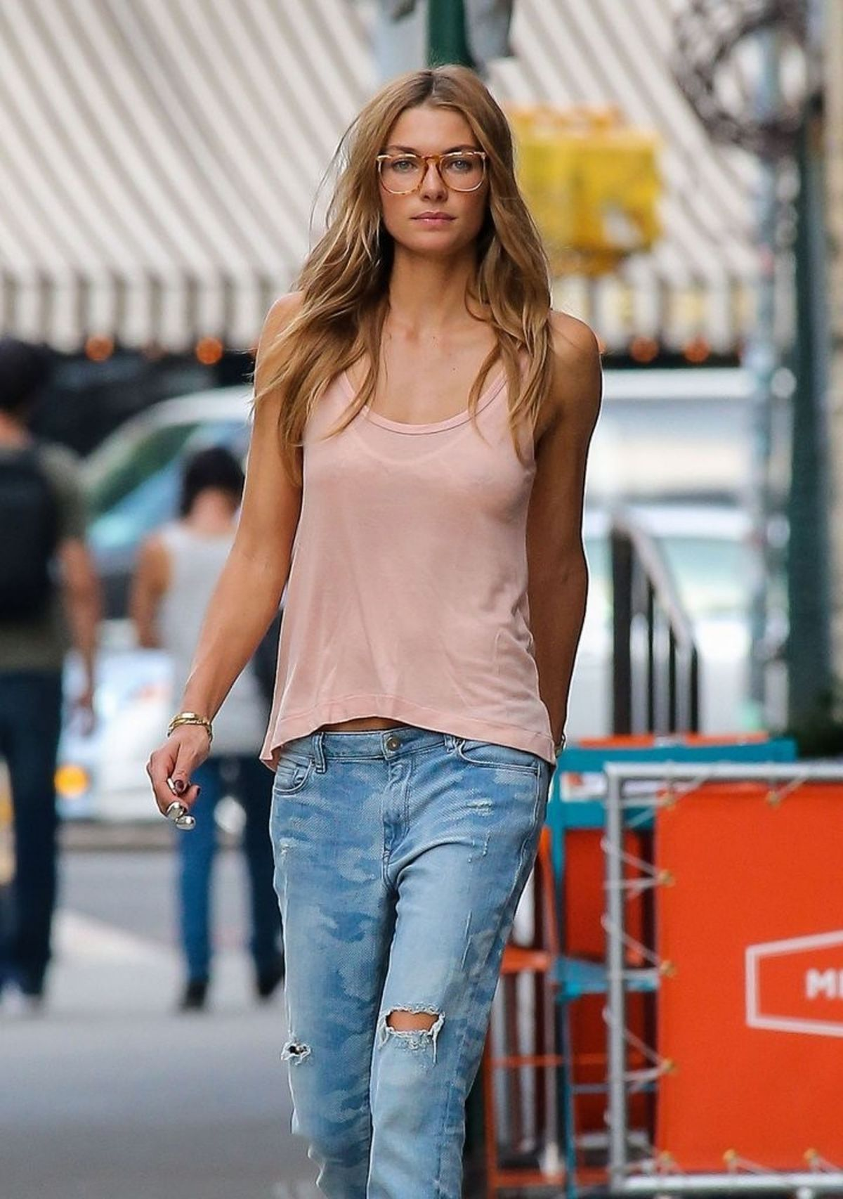 Jessica Hart Takes Her Dog For A Walk In The East Village In New York City