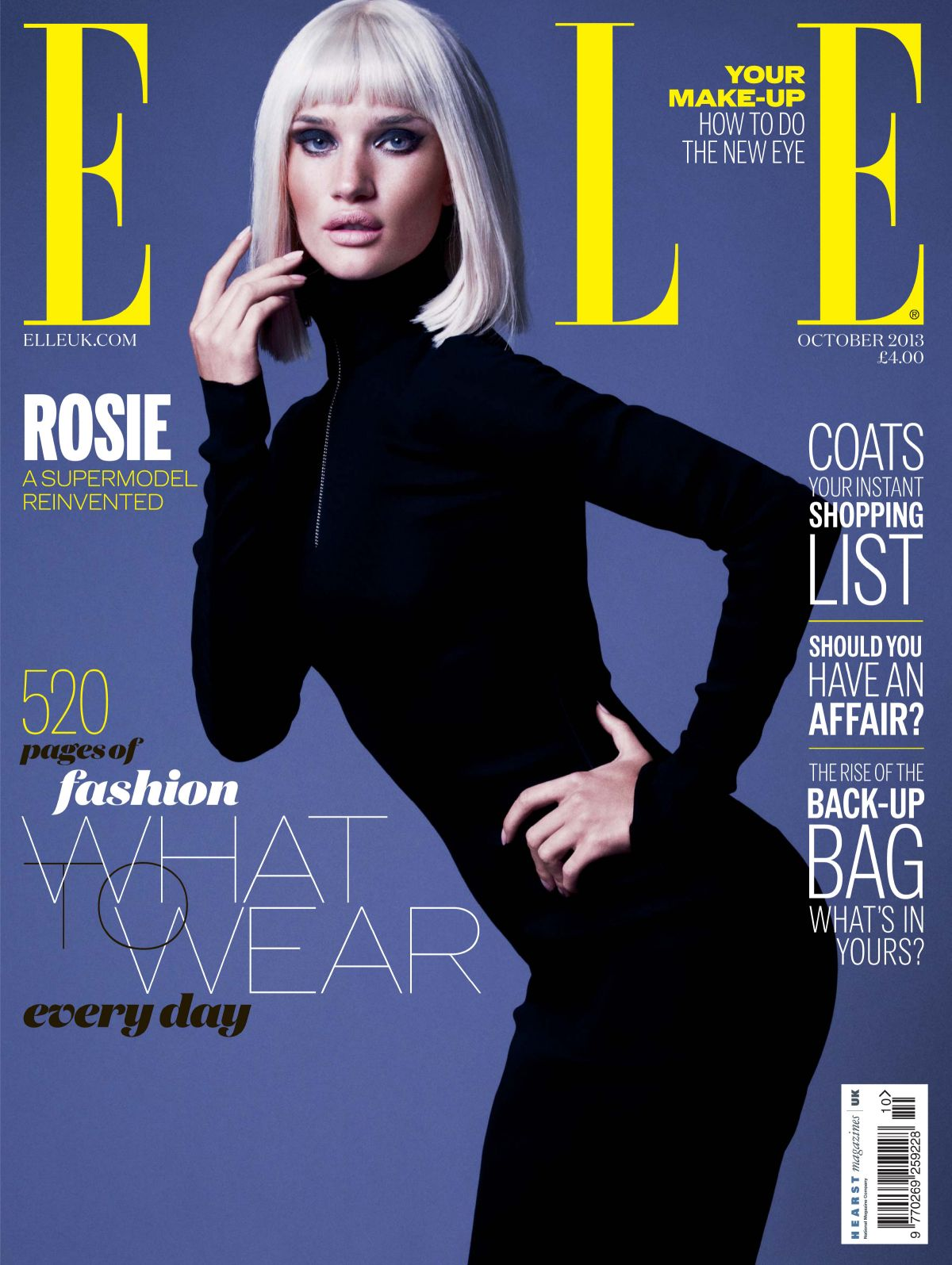Rosie Huntington On The Cover Of Elle Magazine, UK October 2013