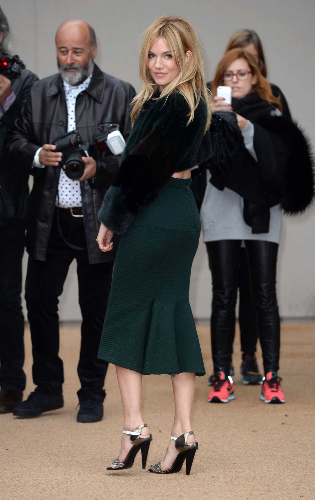 Sienna Miller At The Burberry Prorsum S/S 2014 Catwalk Show LFW In London
