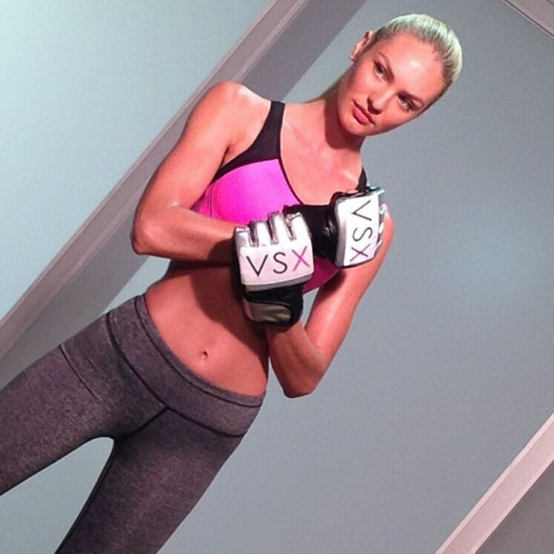 Candice Swanepoel in Tight Spandex Shooting For Victoria Secerts VSX Line