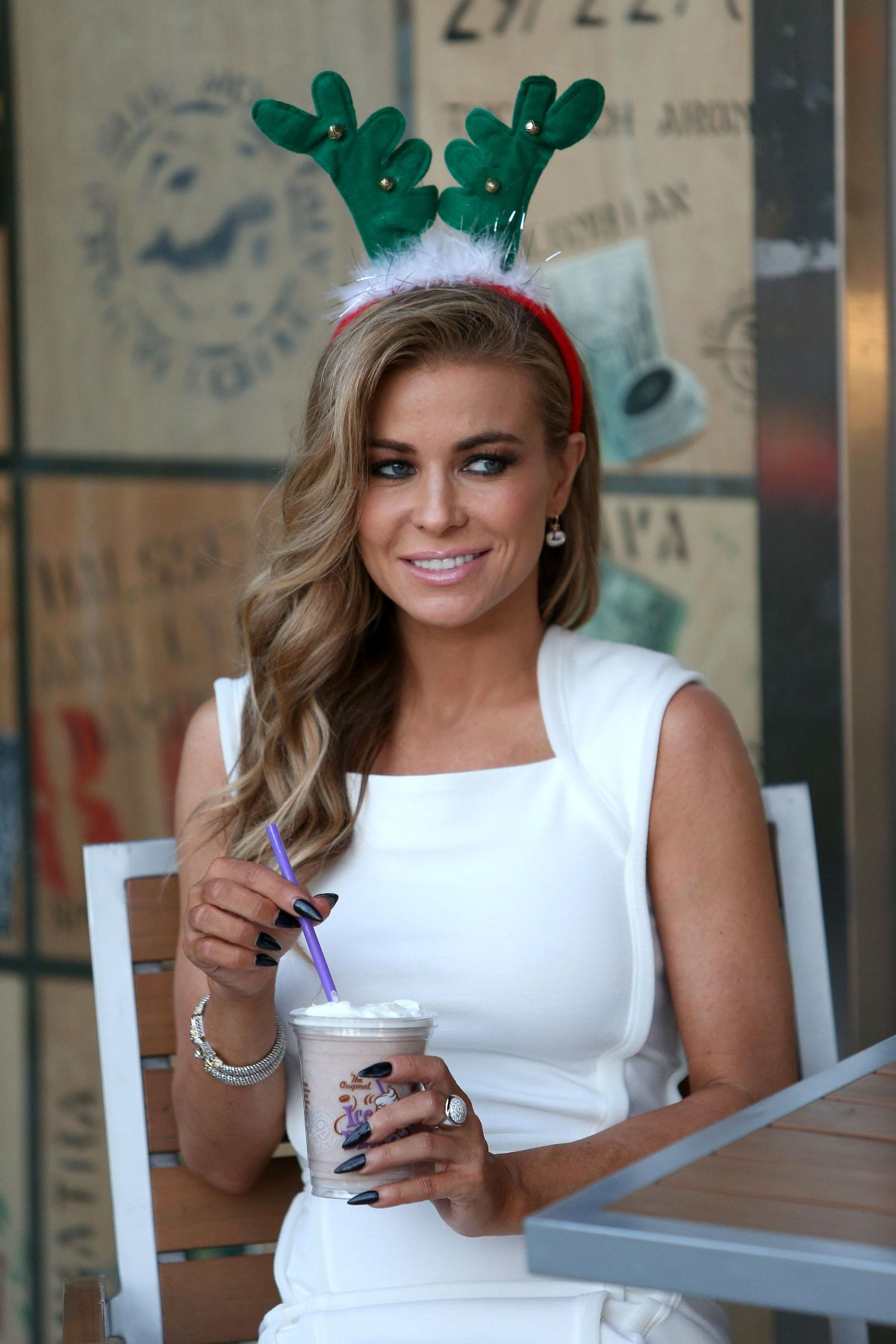 Carmen Electra Enjoys In A Creamy Cup Of Cocoa