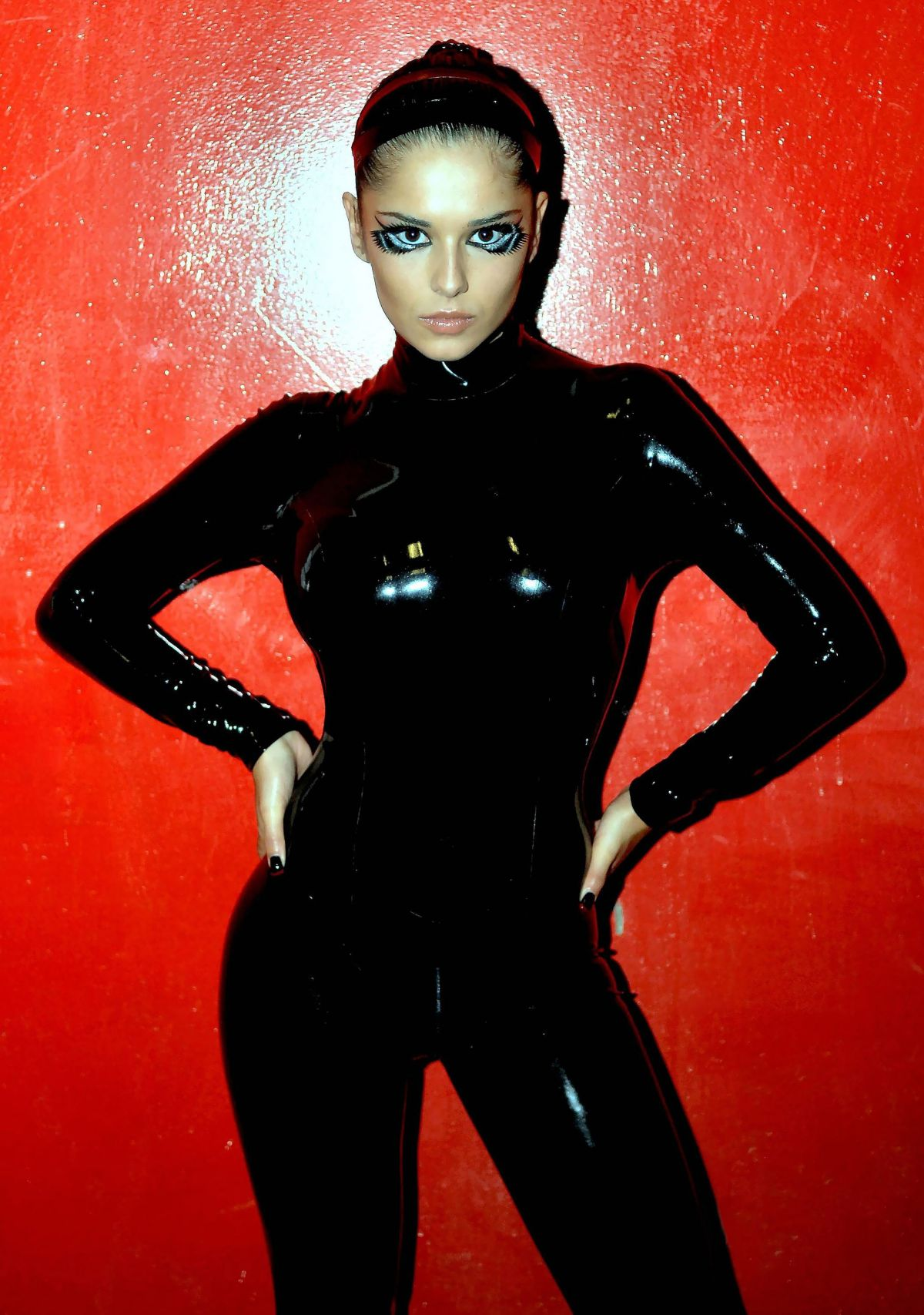 Cheryl Cole Wearing Black Rubber Catsuit