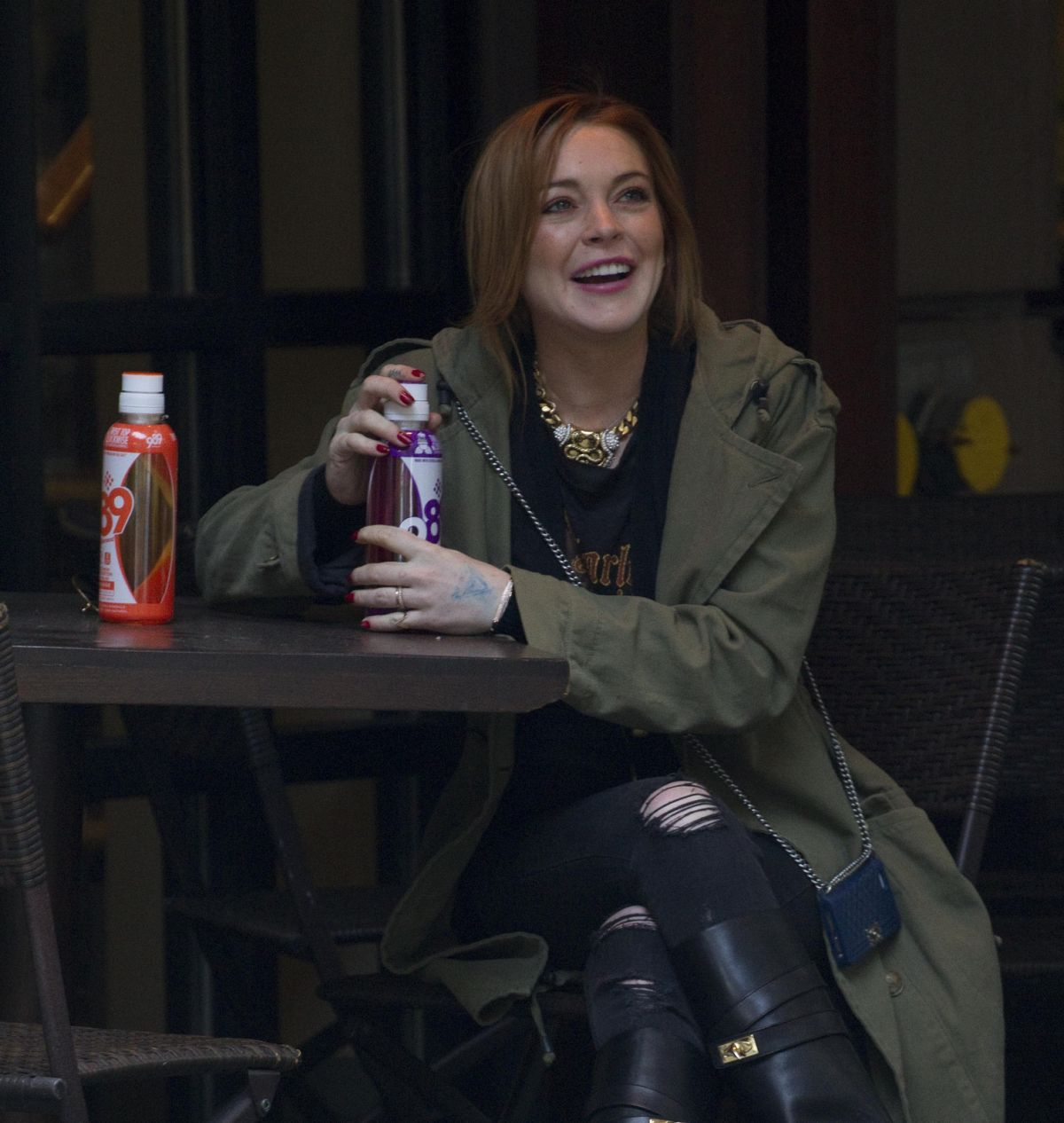 Lindsay Lohan Sitting At A Hotel In New York City