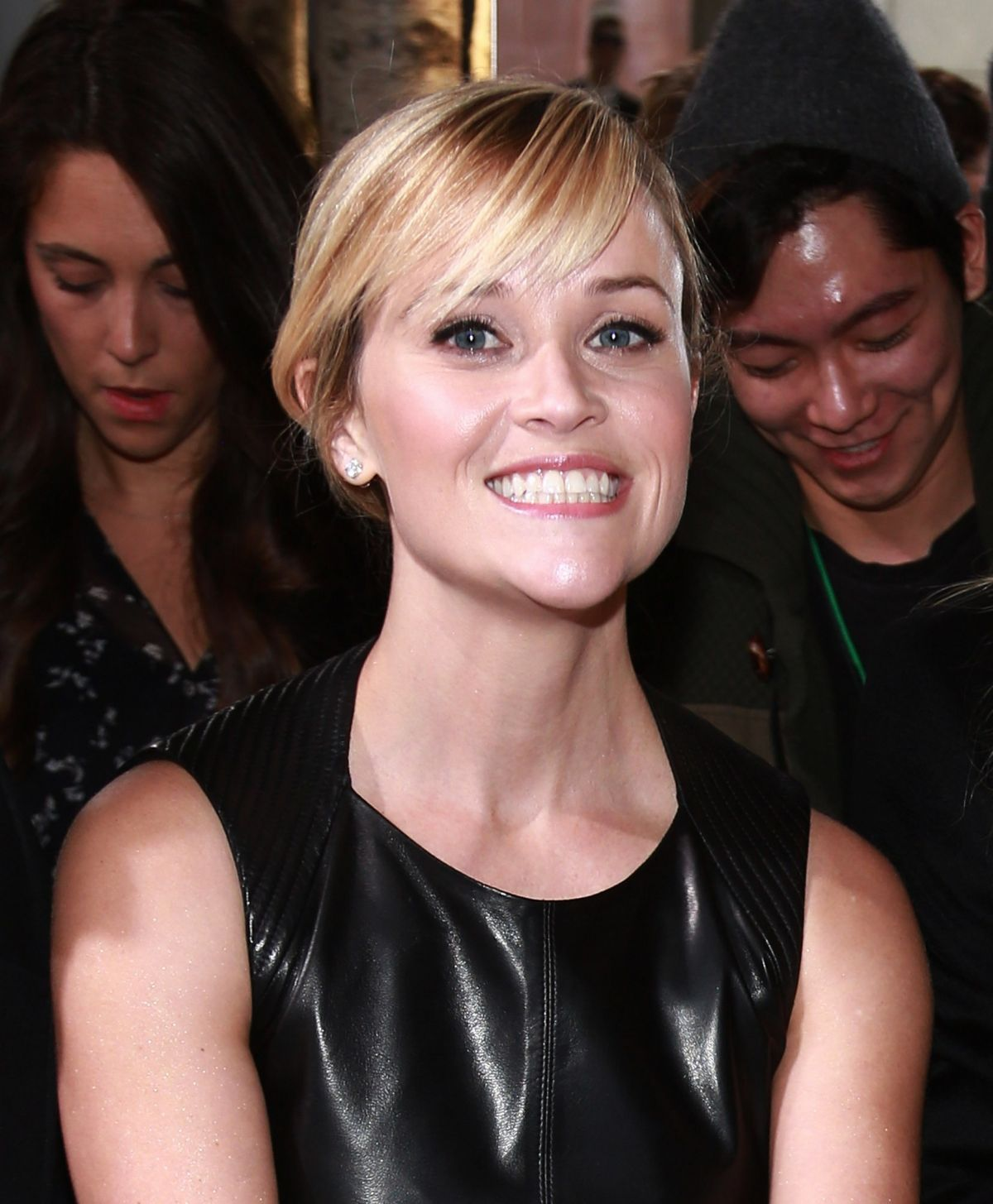 Reese Witherspoon In A Leather Dress At Mercedes Benz Fashion Week