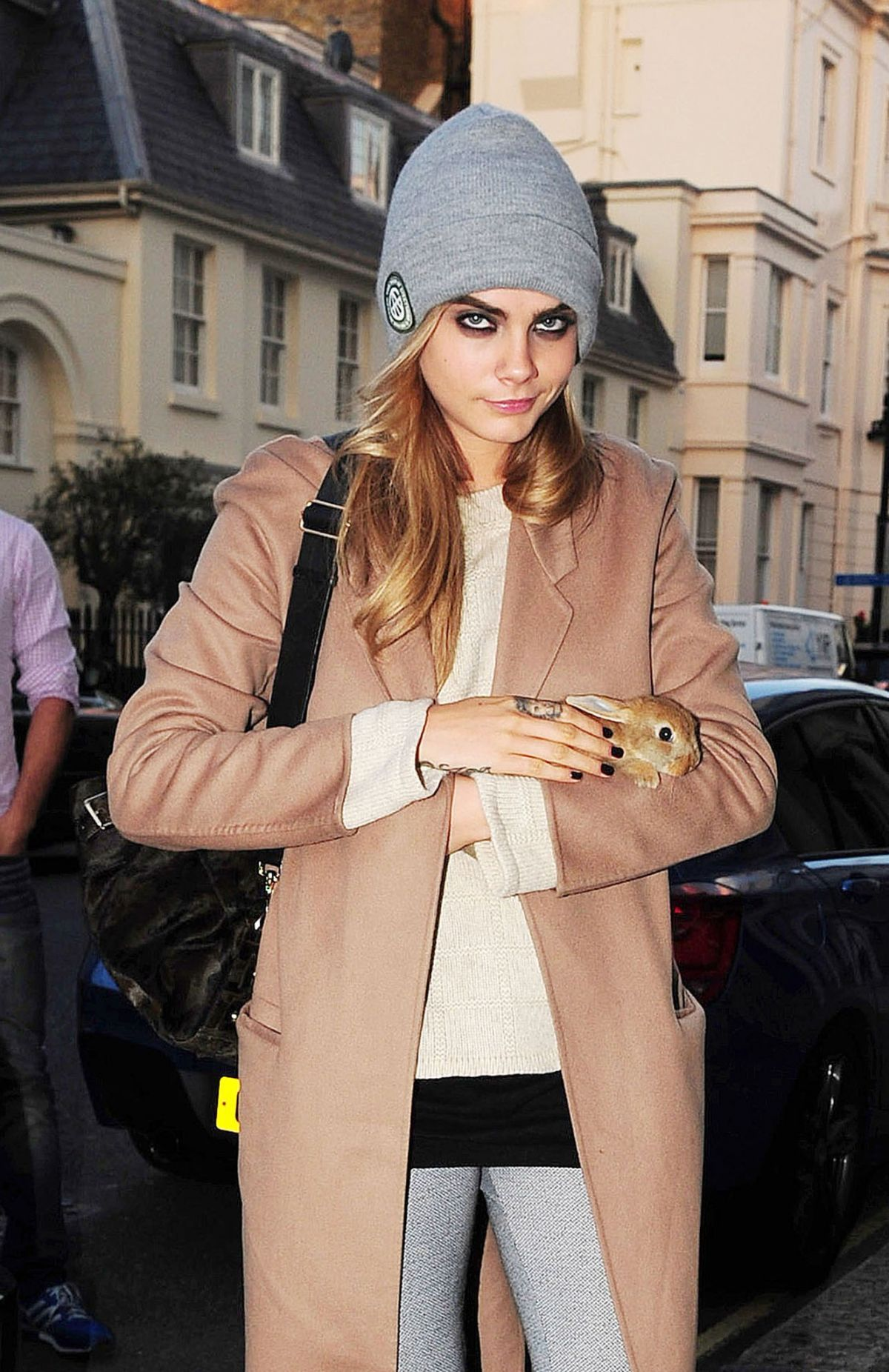 Cara Delevingne Going Home With Her New Bunny In London