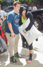 Demi Lovato And Her Pillow Arriving At Her Hotel In NYC