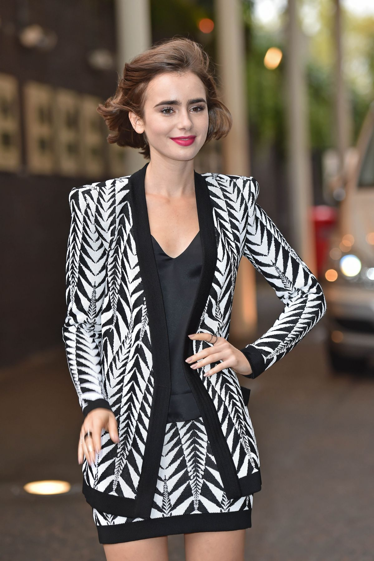 Lily Collins Outside The London Studios