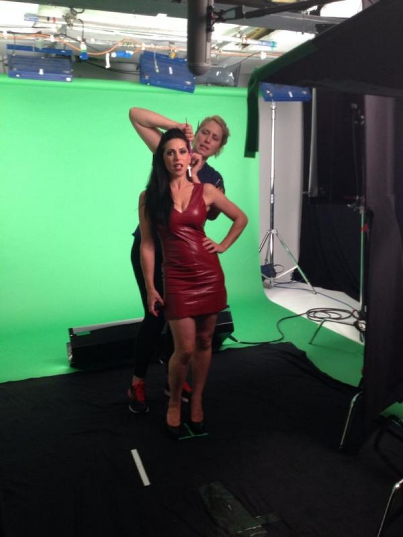 Emily Booth Filming In Red Leather Dress