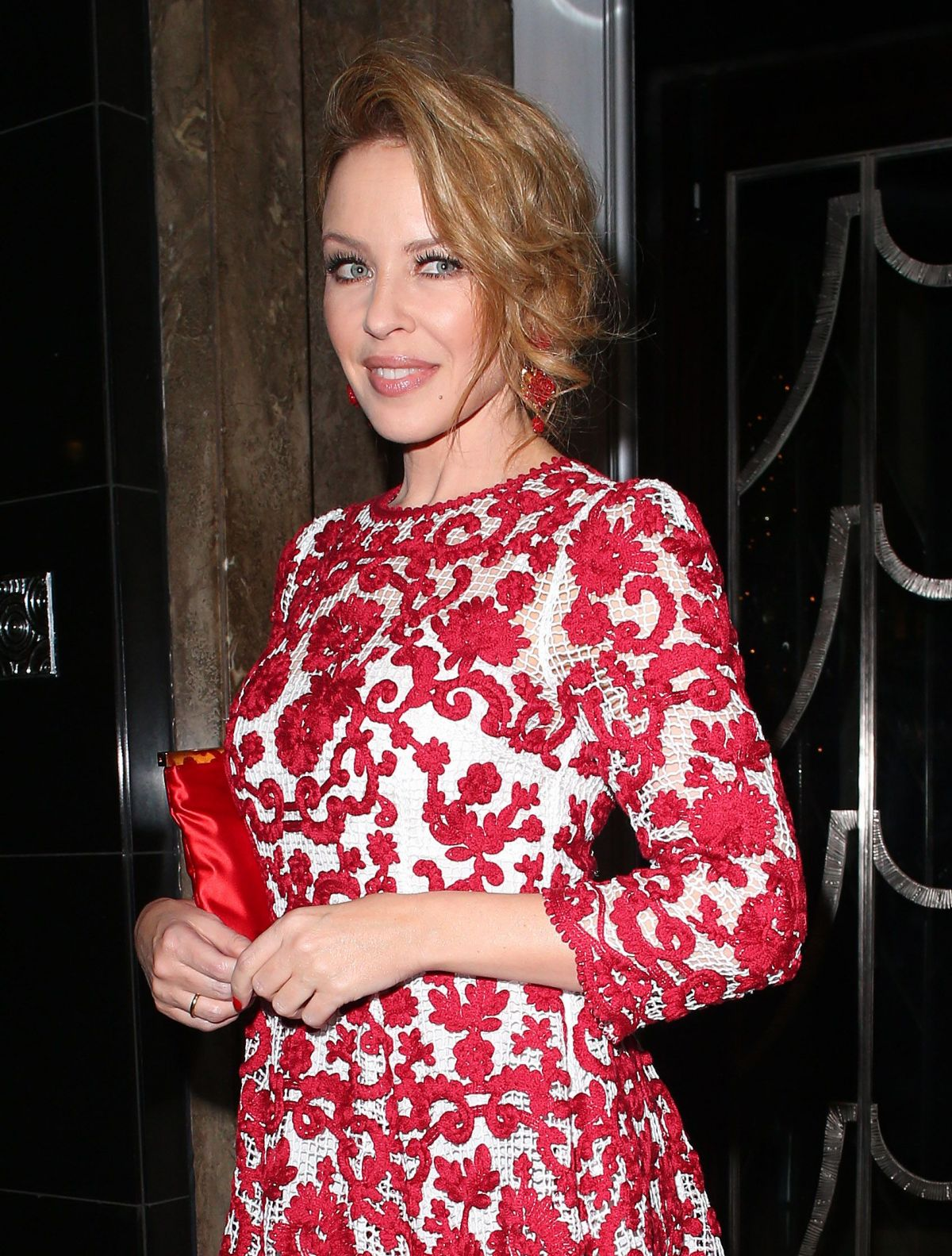 Kylie Minogue At Dolce & Gabbana Christmas Tree Party