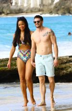 Sarah-Jane Crawford In Swimsuit On A Beach In Barbados