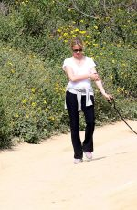 Amy Smart With Her Dog At A Park In Beverly Hills