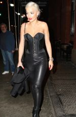Rita Ora Wearing A Corset & Leather Pants Out In New York City