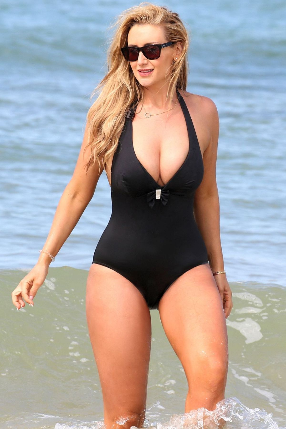 Catherine Tyldesley In One-piece Black Swimsuit