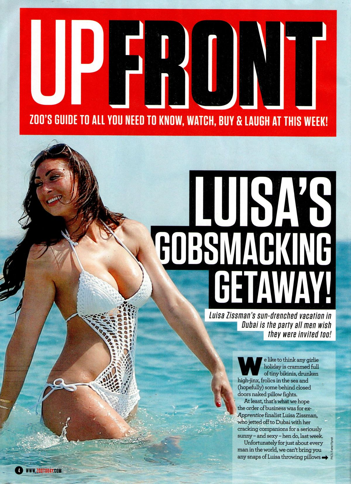 Zoo Weekly Calendar : News zoo magazine luisa zissman on the cover of upfront