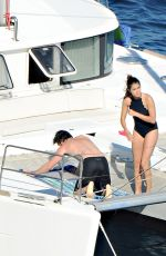 Nikki Reed Wearing A Swimsuit On A Boat In Italy
