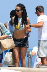 Nathalie Emmanuel Wearing A Bikini On A Boat In Ischia