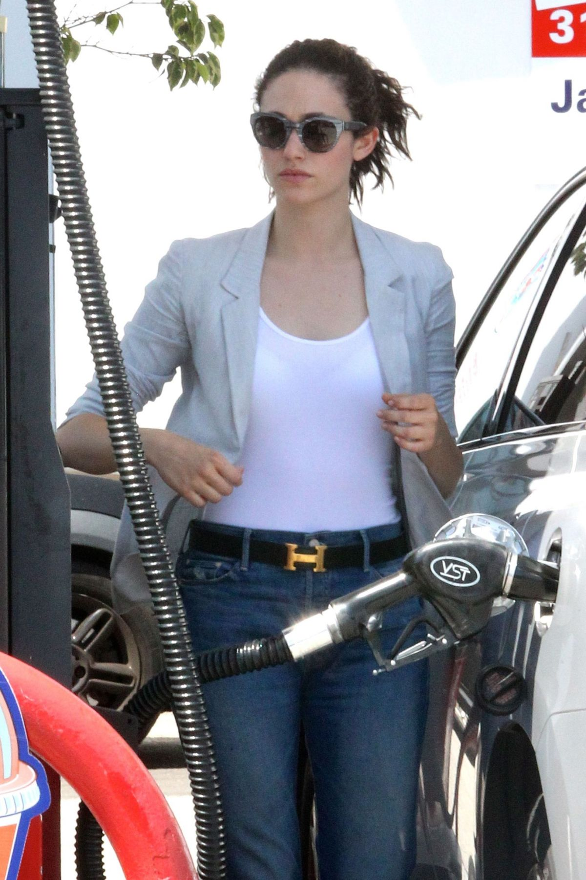 Emmy Rossum Leaving Lemonade And Getting Gas In West Hollywood