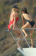 Khloe Kardashian & Kendall Jenner Wearing Swimsuits On A Boat In St barts