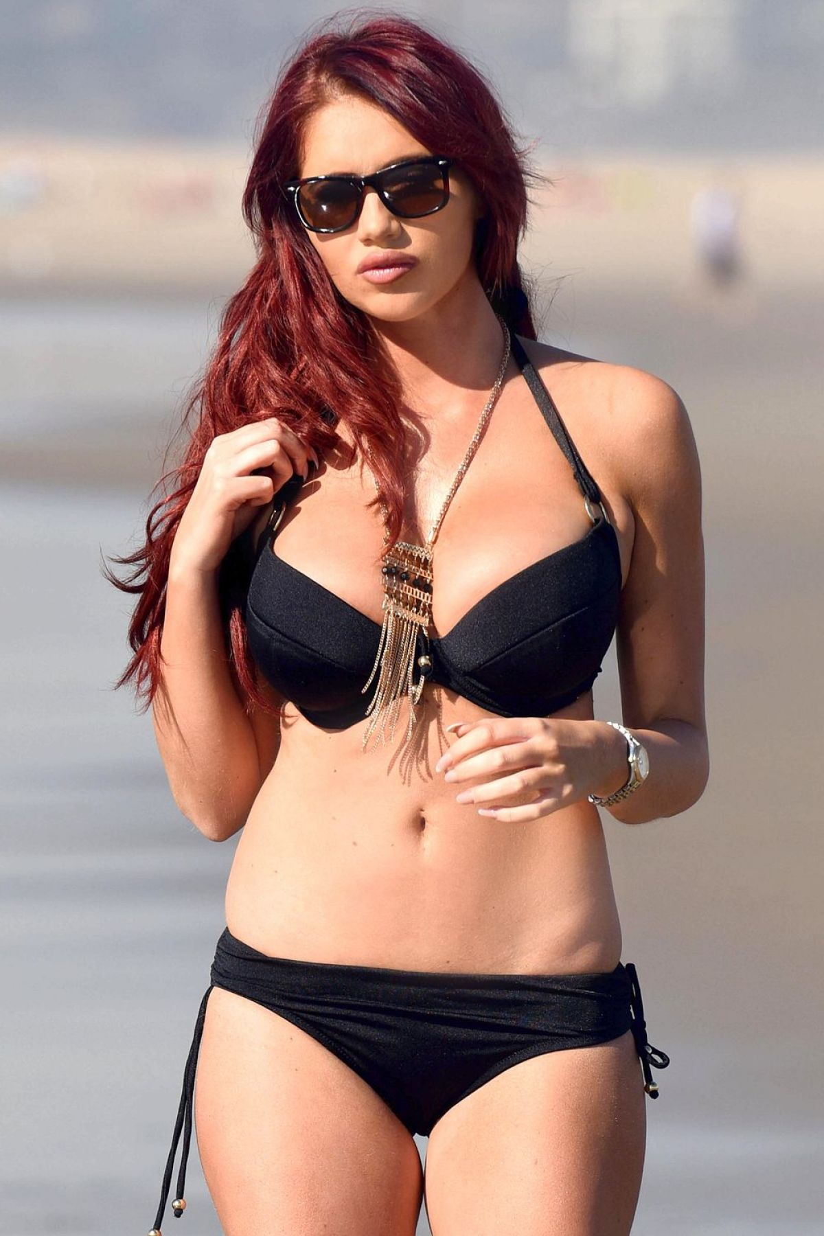 Amy Childs In A Black Bikini On Venice Beach