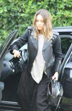 Jessica Alba In Leather Jacket And Maxi Dress In Beverly Hills