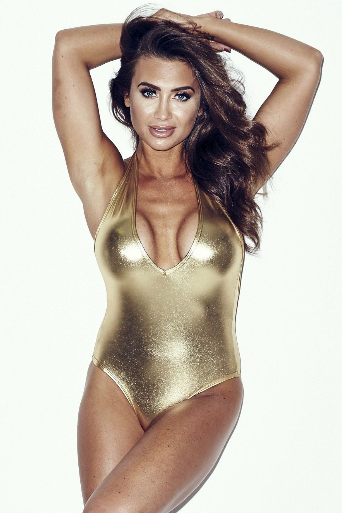 Lauren Goodger In A Gold One-Piece Swimsuit