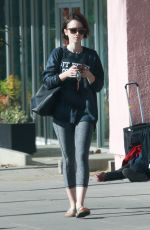 Lily Collins Leaving A Gym In LA
