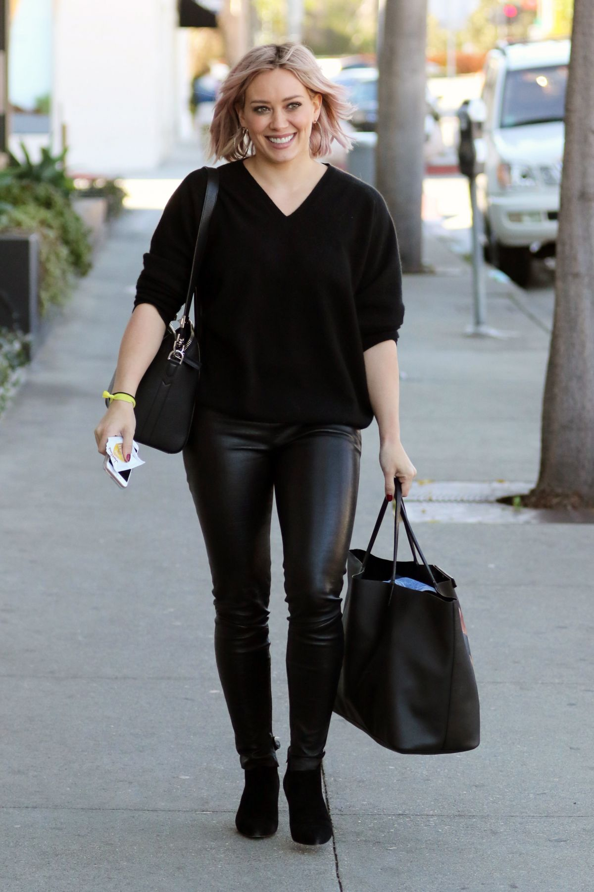 hilary duff wearing leather pants out in west hollywood