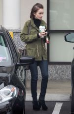 Lily Collins Leaving Starbucks In Los Angeles
