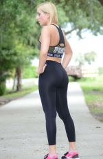 Kate England In Tights and sports bra workout In Orlando