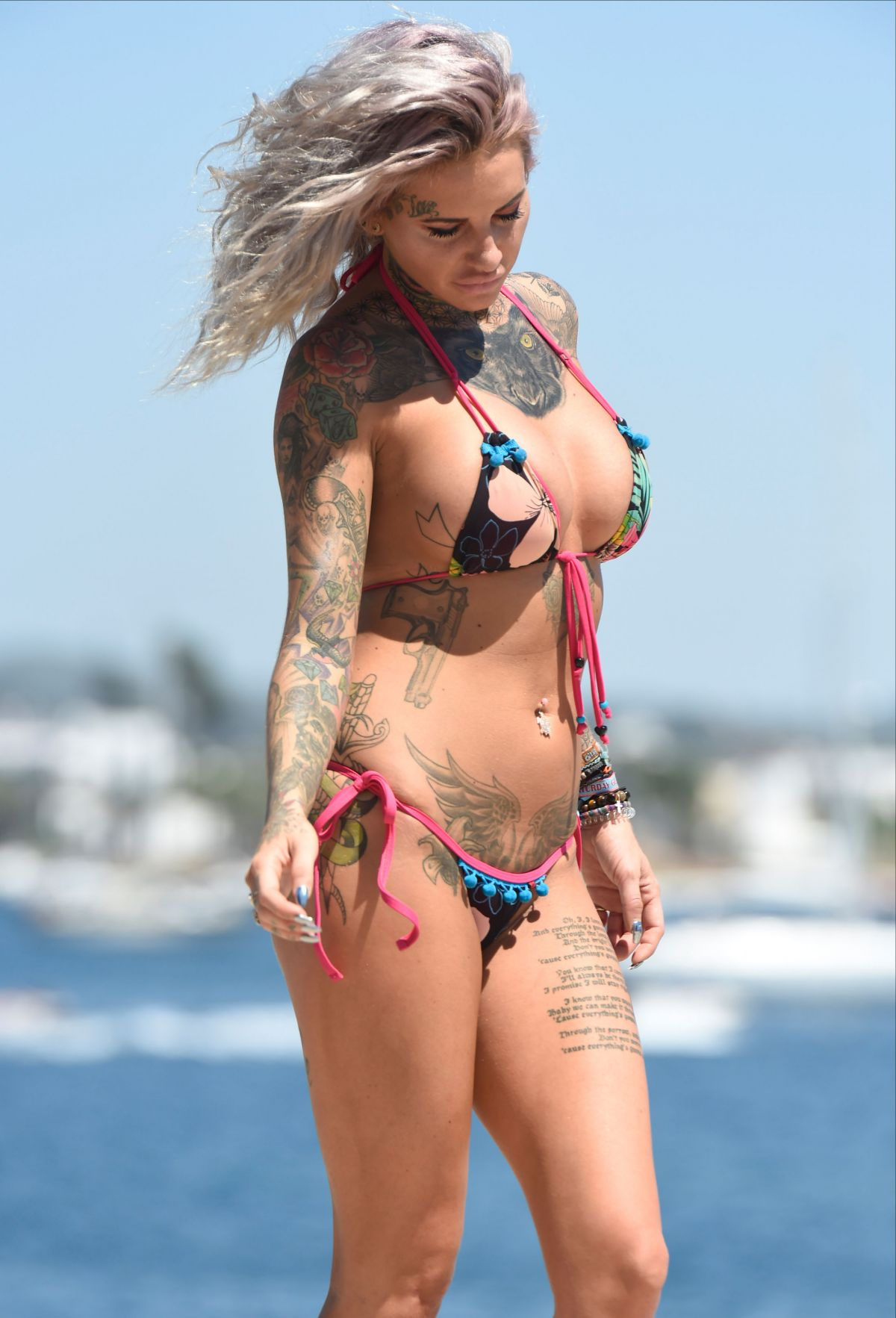 Jemma Lucy in Blue Bikini in Dubai Pic 4 of 35