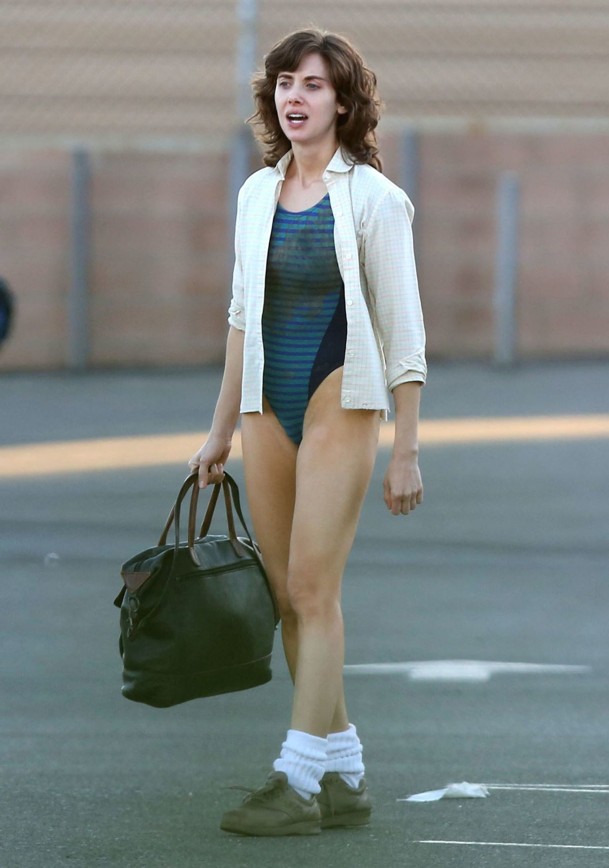 Alison Brie On The Set Of G L O W In Los Angeles