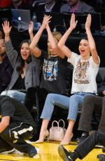 Kendall Jenner & Karlie Kloss At the Houston Rockets vs Los Angeles Lakers at Staples Center in L.A.