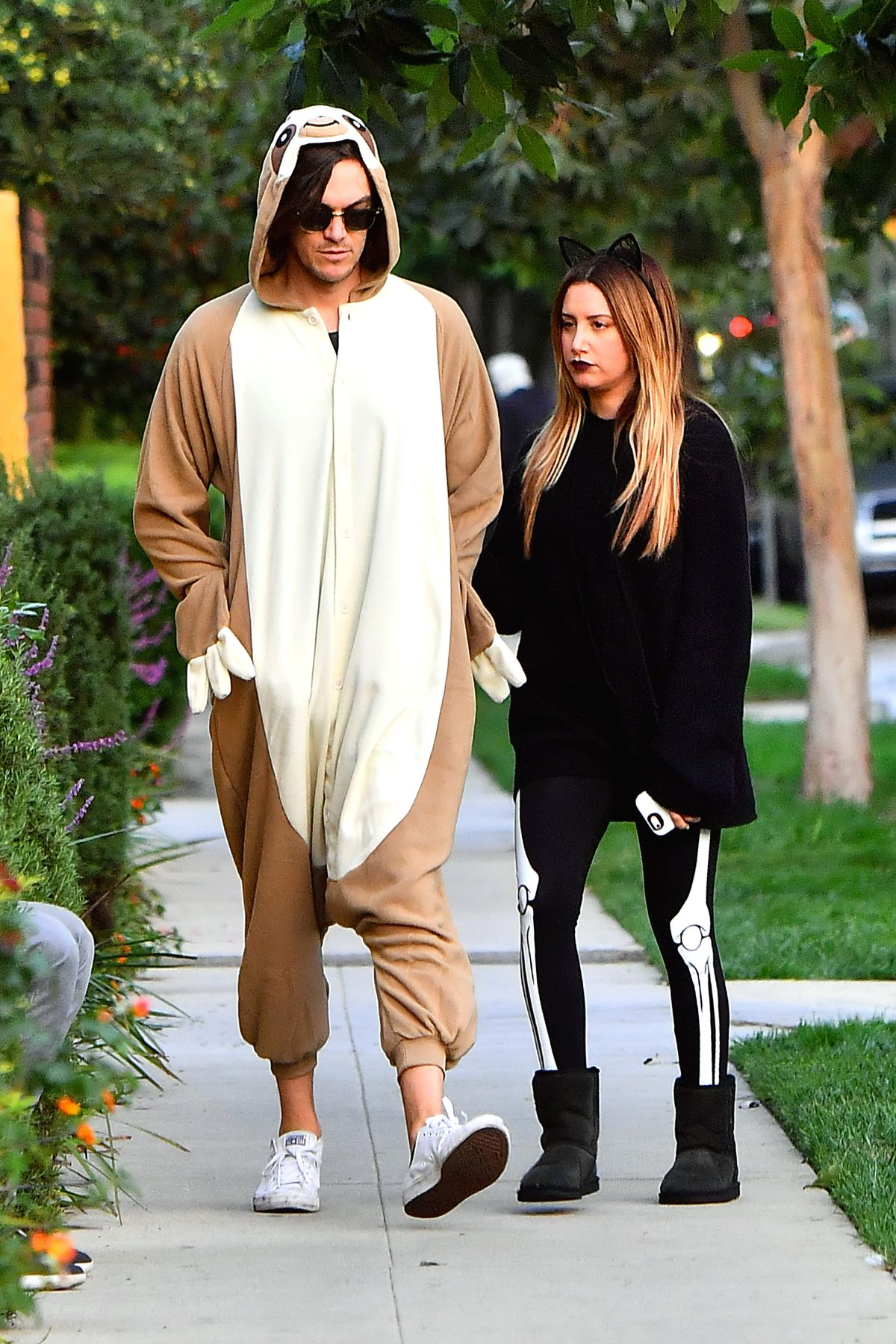ashley tisdale with christopher french at trick or treating on halloween in toluca lake ca - Ashley Tisdale Halloween