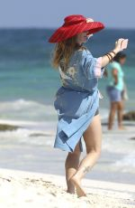 Drew Barrymore With Friends at Amansala Bikini Bootcamp in Tulum, Mexico