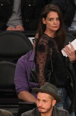 Katie Holmes Watches the lakers lose another game in LA