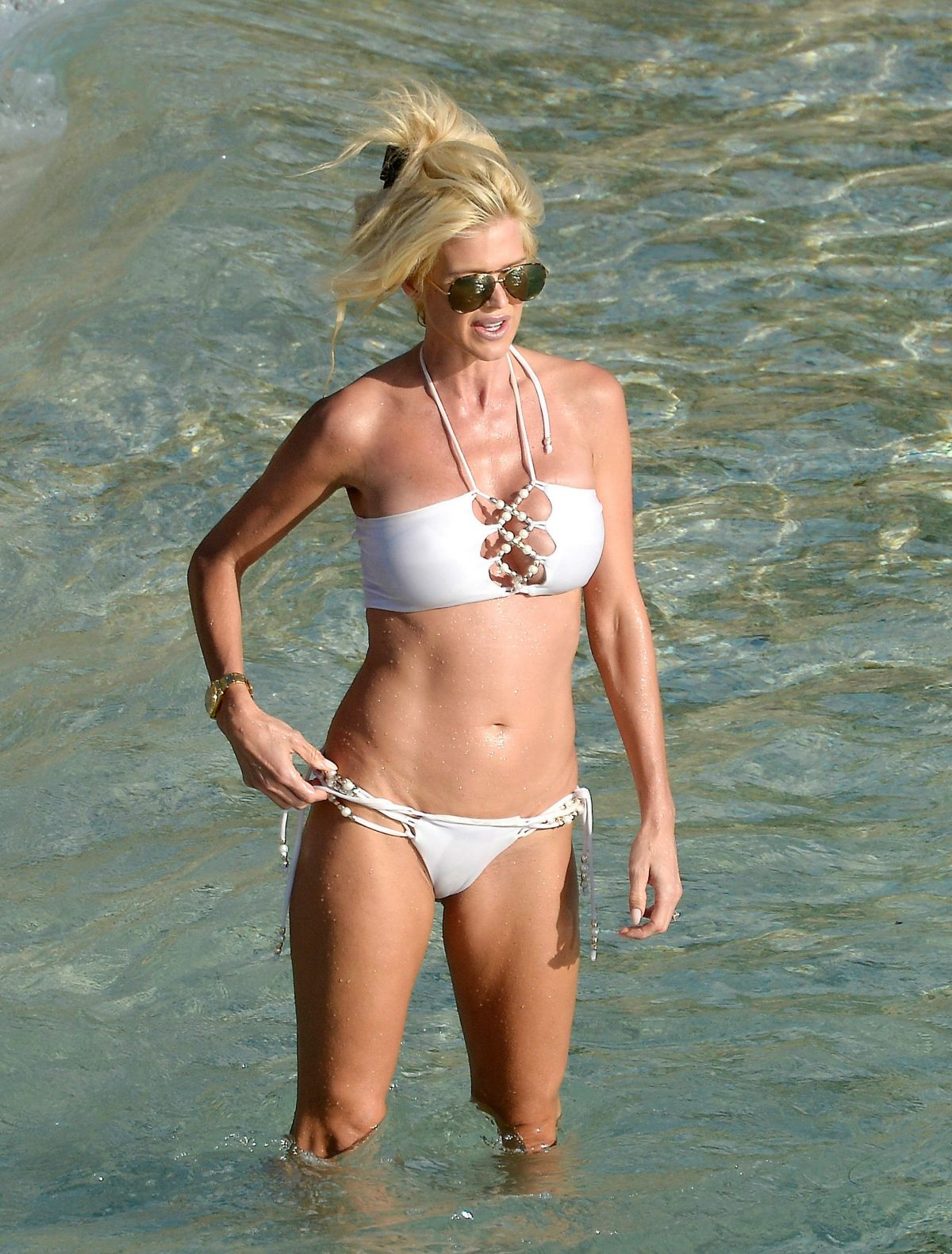 Victoria Silvstedt In ae bikini on the beach of St Barts
