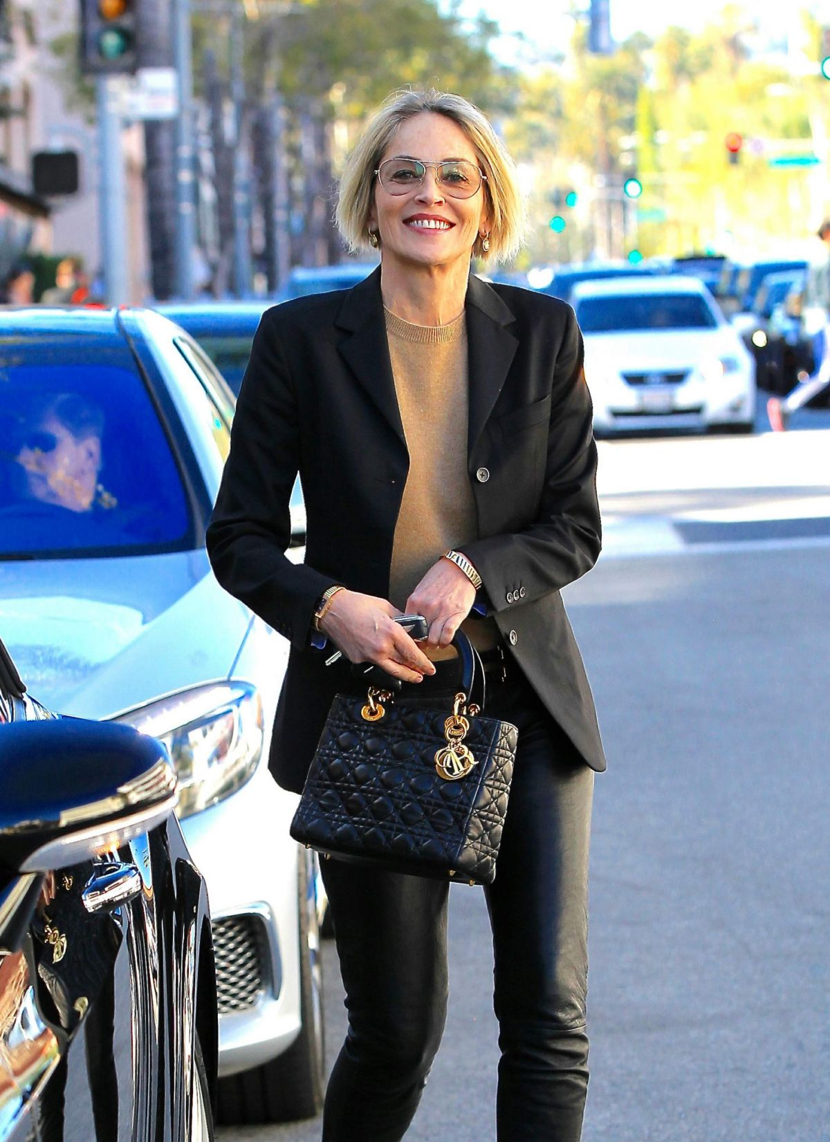 Sharon Stone Leaving a lunch date with a friend in Beverly Hills