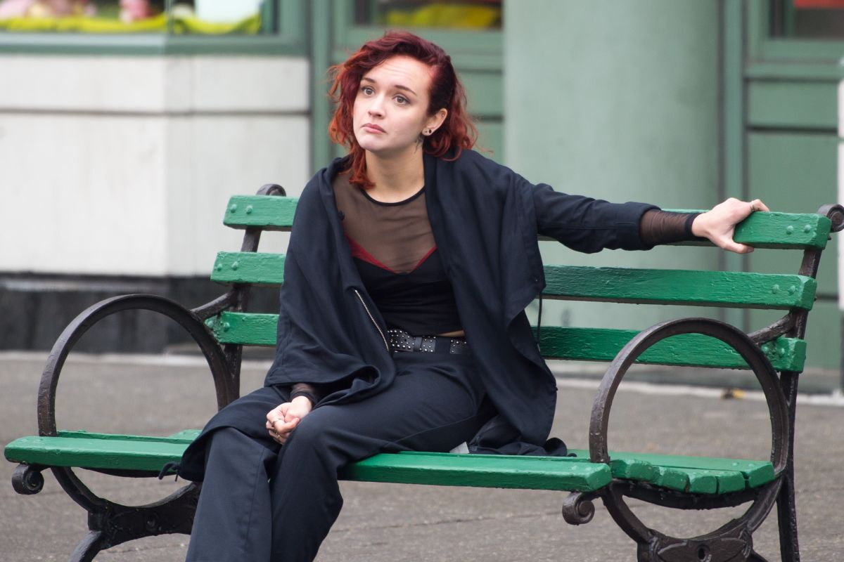Olivia cooke on location for life itself in nyc