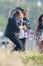 """Demi Lovato On location making a music video for her song """"No Promises"""" in L.A."""