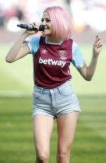 Pixie Lott Performing at the West Ham/Everton match in London