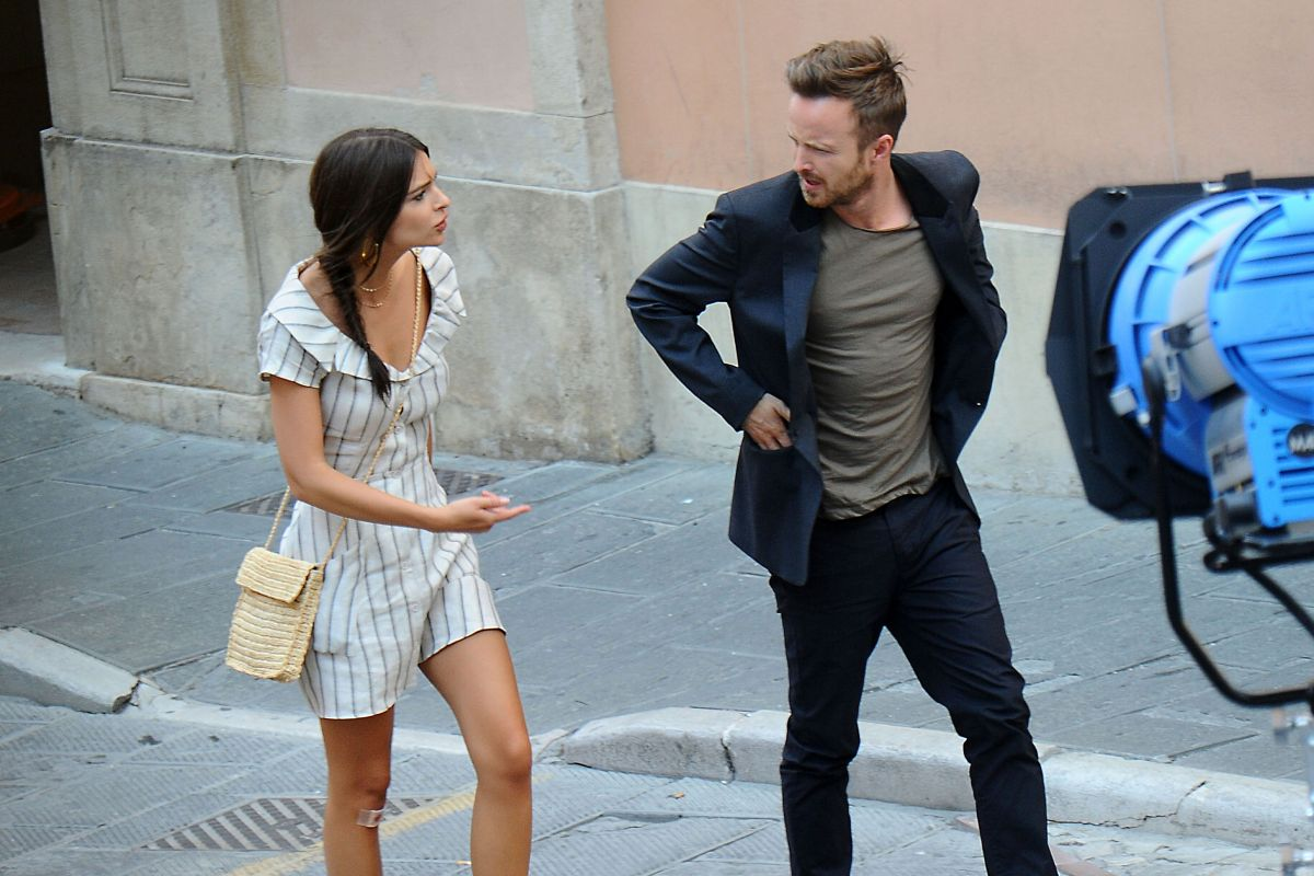 Emily Ratajkowski on the Set of the Welcome Home in Todi